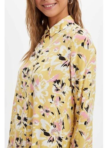 DeFacto Desenli Uzun Kollu Tunik Sarı
